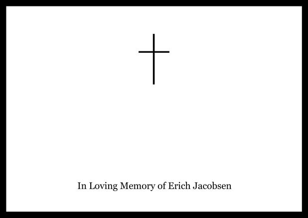Online Classic Memorial invitation card with black frame and Cross in the middle and famous quote. Black.