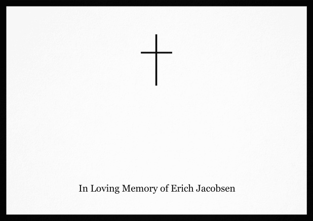 Classic Memorial invitation card with black frame and Cross in the middle. Black.