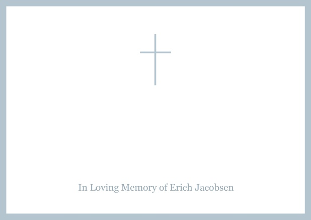 Online Classic Memorial invitation card with black frame and Cross in the middle and famous quote. Blue.