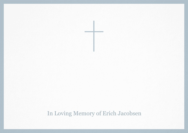 Classic Memorial invitation card with black frame and Cross in the middle. Blue.