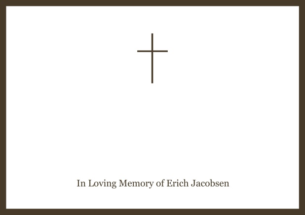 Online Classic Memorial invitation card with black frame and Cross in the middle and famous quote. Brown.