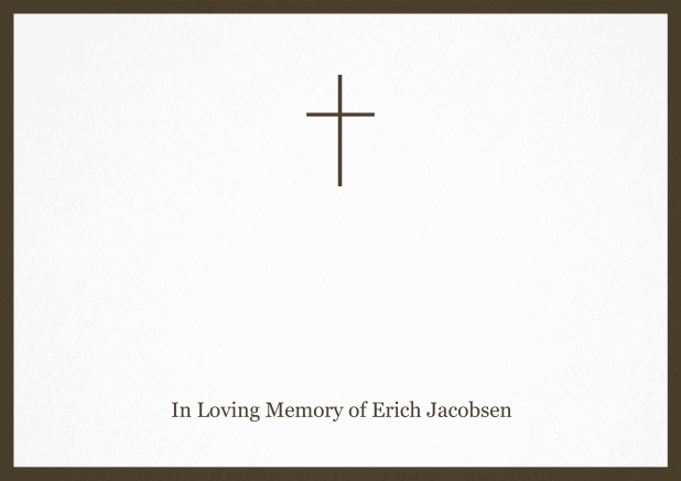 Classic Memorial invitation card with black frame and Cross in the middle. Brown.