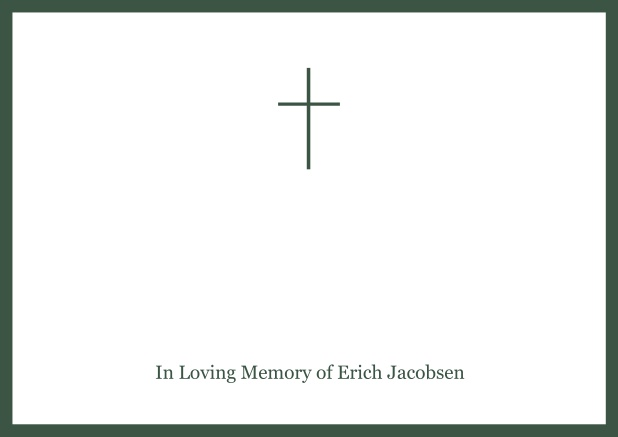 Online Classic Memorial invitation card with black frame and Cross in the middle and famous quote. Green.