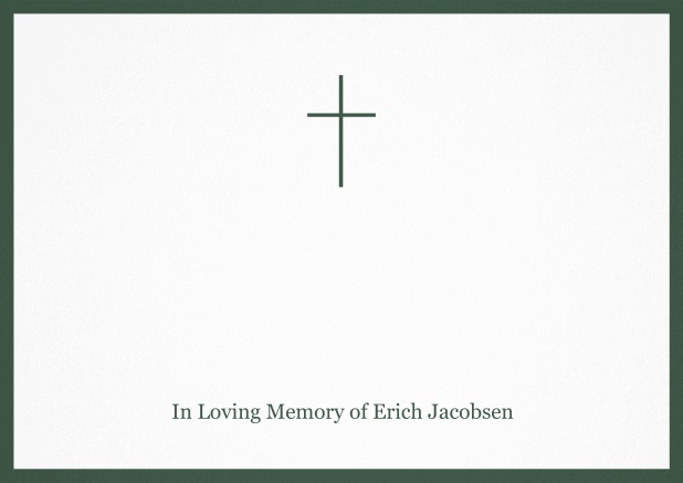 Classic Memorial invitation card with black frame and Cross in the middle. Green.