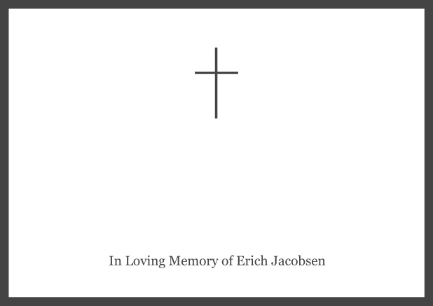 Online Classic Memorial invitation card with black frame and Cross in the middle and famous quote. Grey.