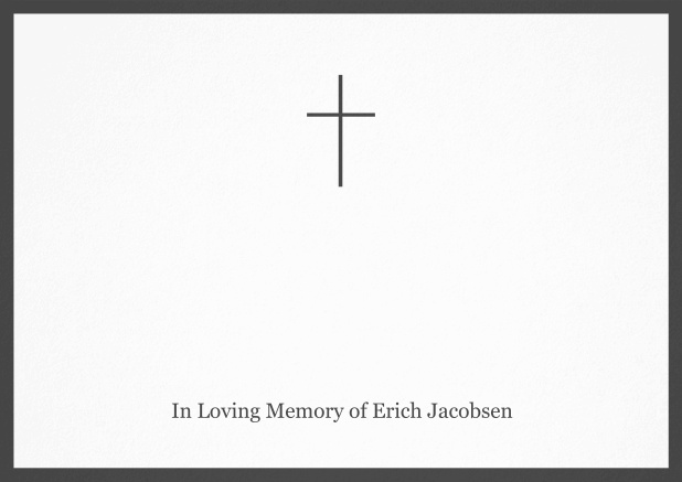 Classic Memorial invitation card with black frame and Cross in the middle. Grey.