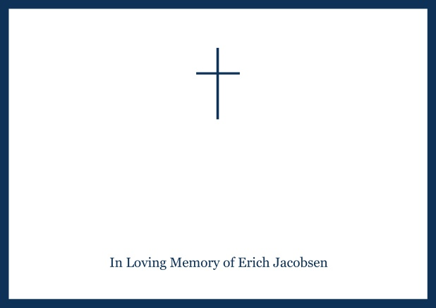 Online Classic Memorial invitation card with black frame and Cross in the middle and famous quote. Navy.