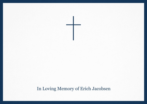 Classic Memorial invitation card with black frame and Cross in the middle. Navy.