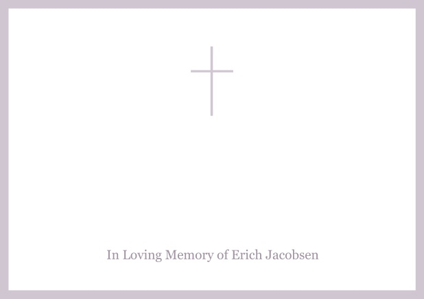 Online Classic Memorial invitation card with black frame and Cross in the middle and famous quote. Purple.