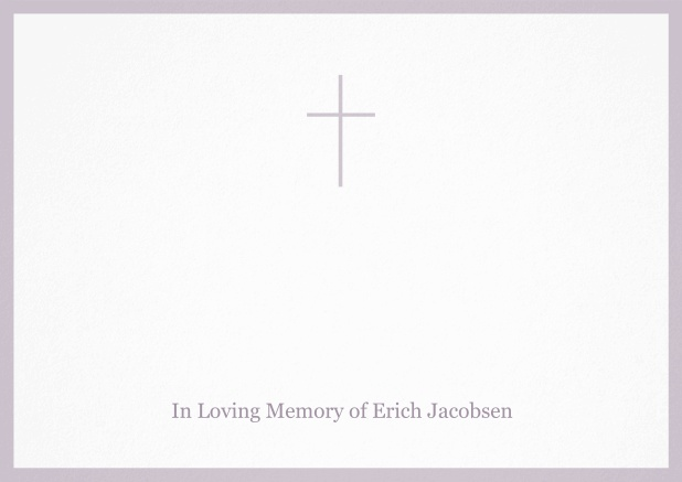 Classic Memorial invitation card with black frame and Cross in the middle. Purple.