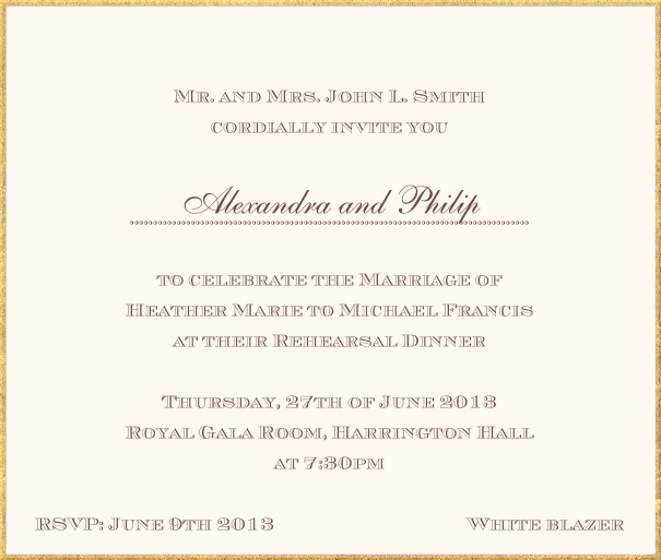 Classic invitation card in square format with fine golden frame and paper color of your choice. Beige.