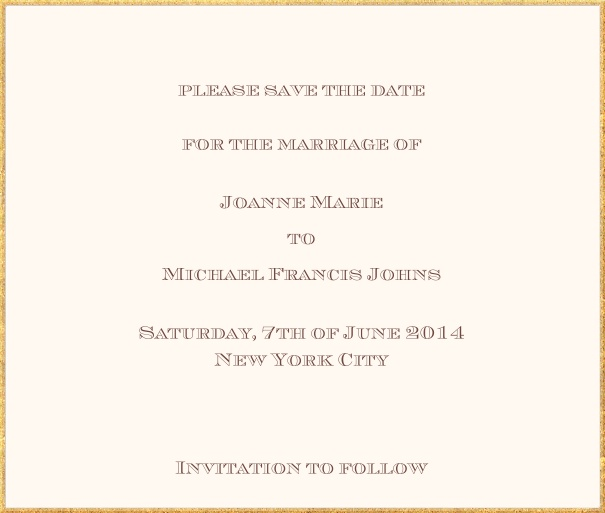 Classic save the date card in square format with fine golden frame and paper color of your choice. Beige.