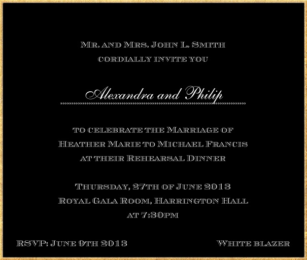 Classic invitation card in square format with fine golden frame and paper color of your choice. Black.