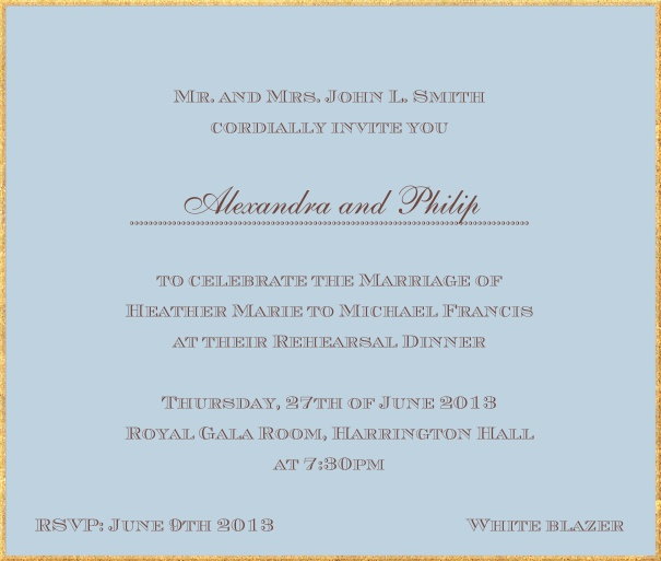Classic invitation card in square format with fine golden frame and paper color of your choice. Blue.