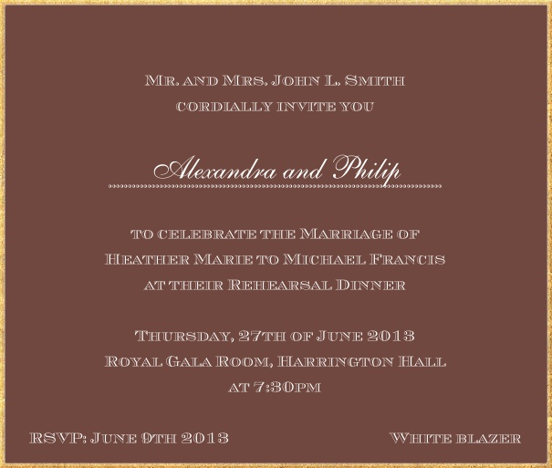 Classic invitation card in square format with fine golden frame and paper color of your choice. Brown.