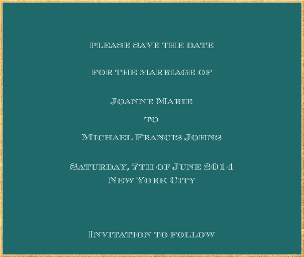 Classic save the date card in square format with fine golden frame and paper color of your choice. Green.