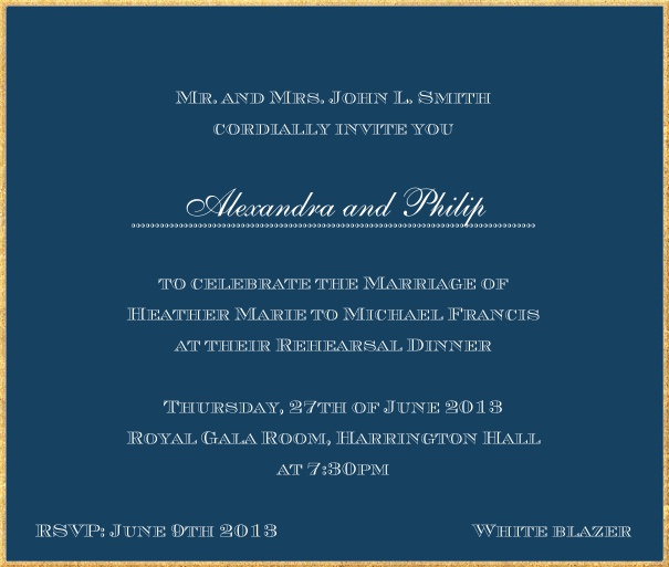 Classic invitation card in square format with fine golden frame and paper color of your choice. Navy.