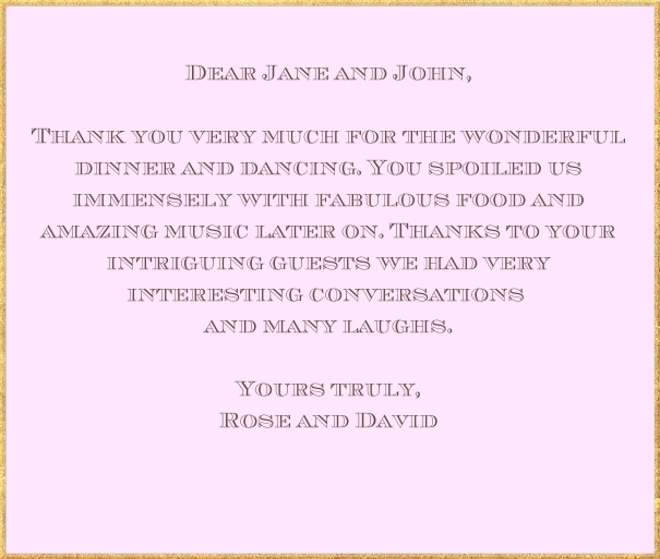 Customizable Thank you card with gold frame. Pink.