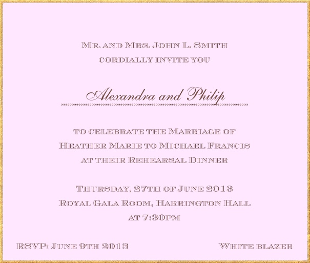 Classic invitation card in square format with fine golden frame and paper color of your choice. Pink.