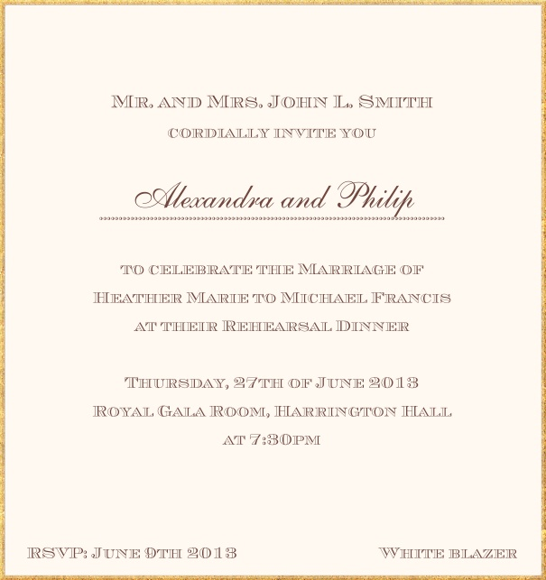 Classic invitation card in high format with fine golden frame and paper color of your choice. Beige.