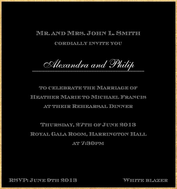 Classic invitation card in high format with fine golden frame and paper color of your choice. Black.