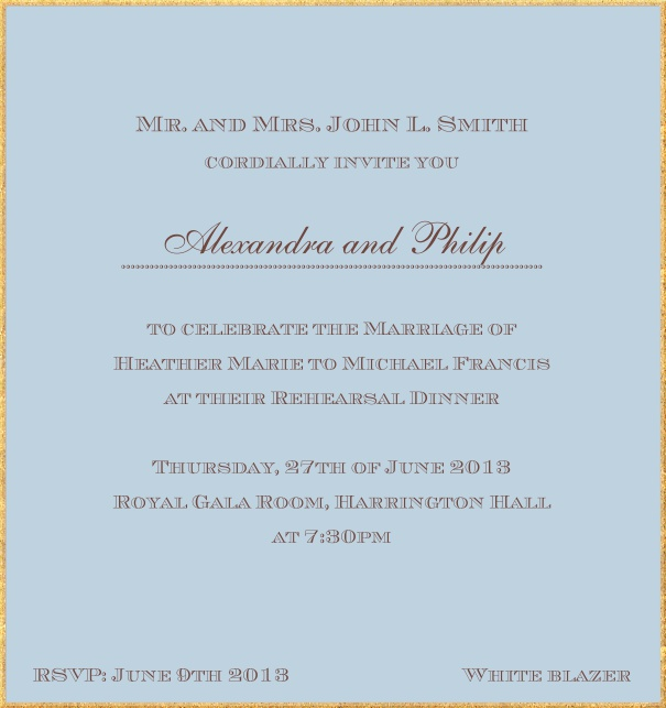 Classic invitation card in high format with fine golden frame and paper color of your choice. Blue.
