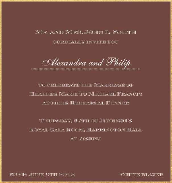 Classic invitation card in high format with fine golden frame and paper color of your choice. Brown.