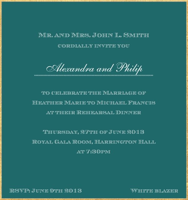 Classic invitation card in high format with fine golden frame and paper color of your choice. Green.