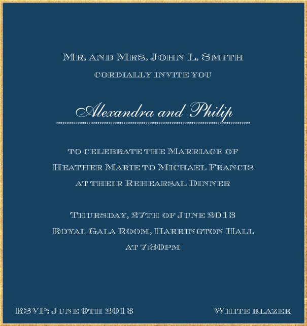 Classic invitation card in high format with fine golden frame and paper color of your choice. Navy.