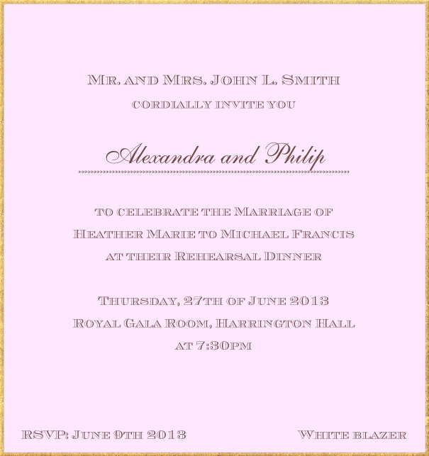 Classic invitation card in high format with fine golden frame and paper color of your choice. Pink.