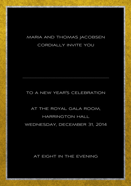 Classic online invitation card with silver and gold frame. Black.