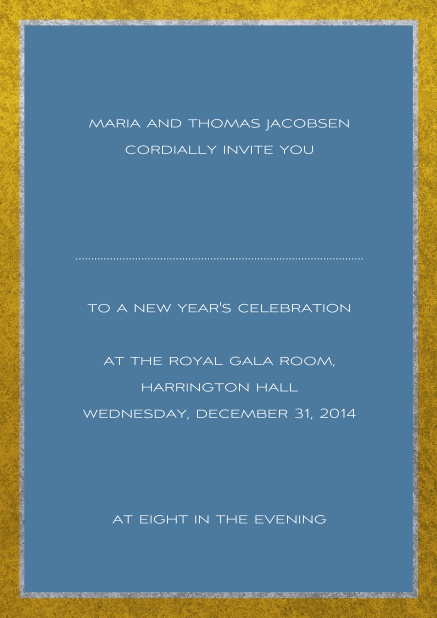 Classic online invitation card with silver and gold frame. Blue.