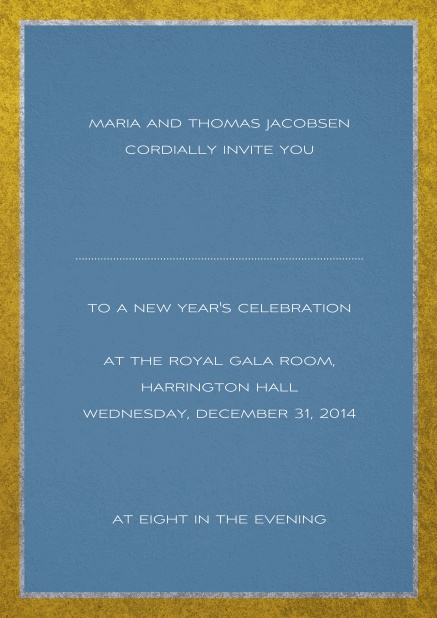 Classic invitation card with silver and gold frame. Blue.