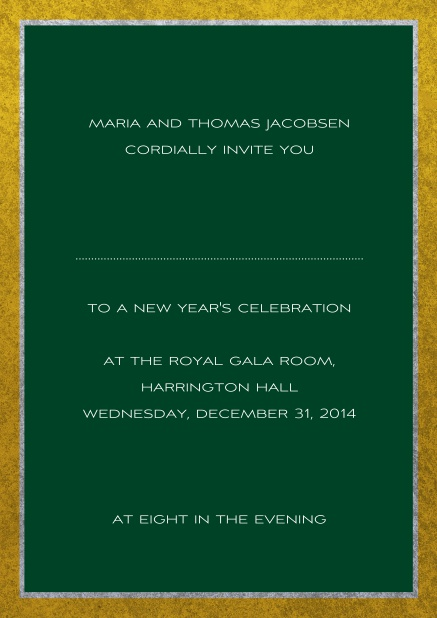 Classic online invitation card with silver and gold frame. Green.