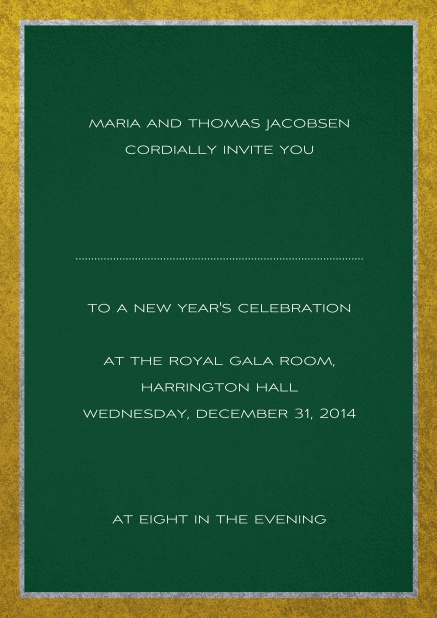 Classic invitation card with silver and gold frame. Green.