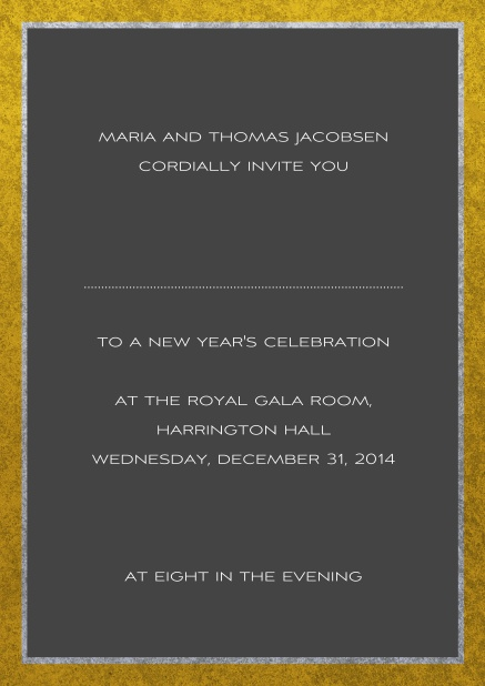Classic online invitation card with silver and gold frame. Grey.