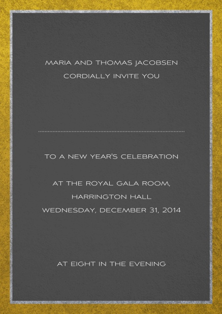 Classic invitation card with silver and gold frame. Grey.