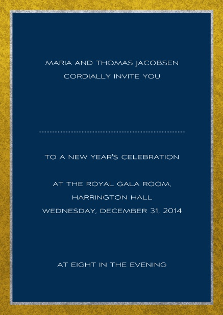 Classic online invitation card with silver and gold frame. Navy.
