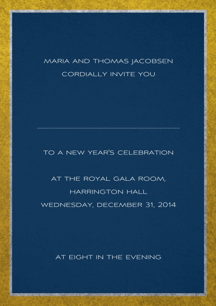 Classic invitation card with silver and gold frame. Navy.