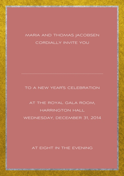 Classic online invitation card with silver and gold frame. Pink.