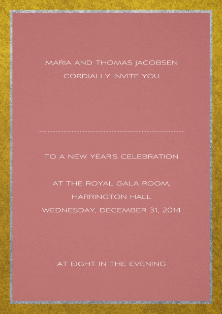 Classic invitation card with silver and gold frame. Pink.