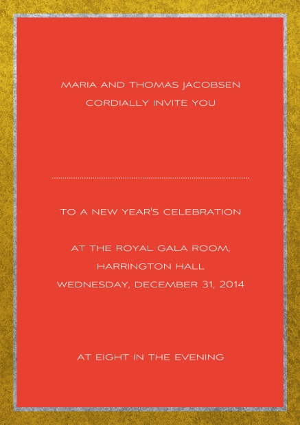 Classic online invitation card with silver and gold frame. Red.