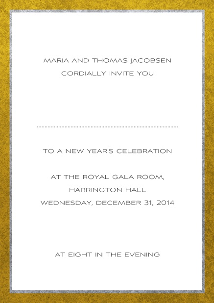 Classic online invitation card with silver and gold frame. White.