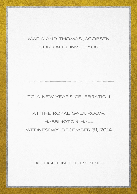 Classic invitation card with silver and gold frame. White.
