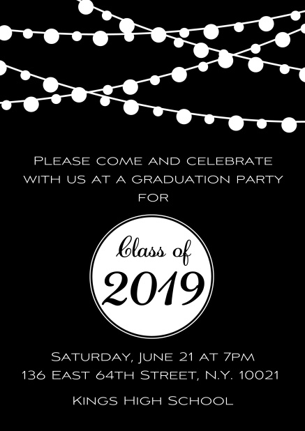 Class of 2019 graduation online invitation card with party lanterns. Black.
