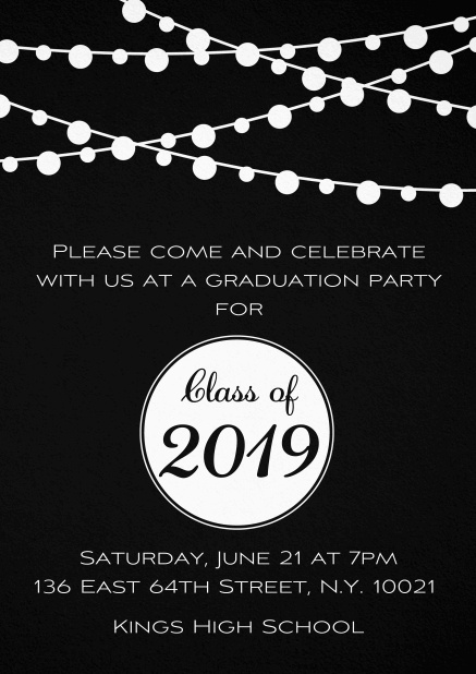 Class of 2019 graduation invitation card with party lanterns. Black.