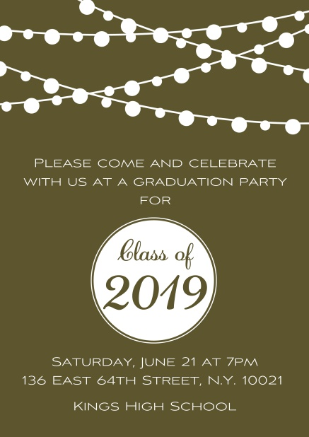 Class of 2019 graduation online invitation card with party lanterns. Gold.