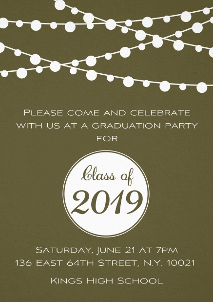 Class of 2019 graduation invitation card with party lanterns. Gold.