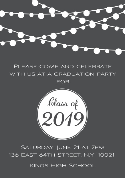 Class of 2019 graduation online invitation card with party lanterns. Grey.