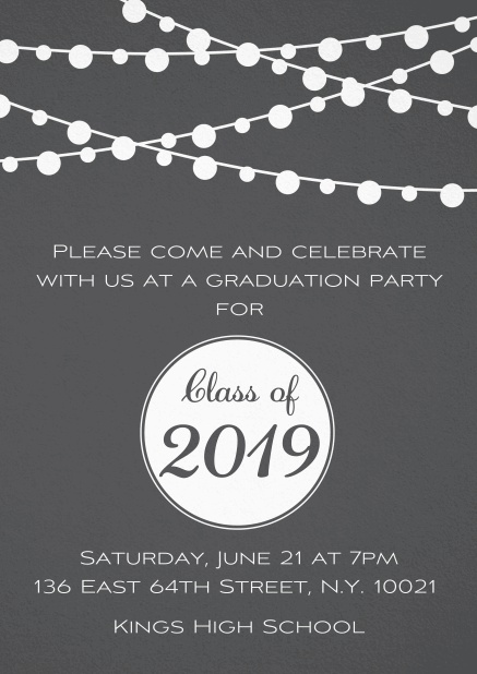 Class of 2019 graduation invitation card with party lanterns. Grey.